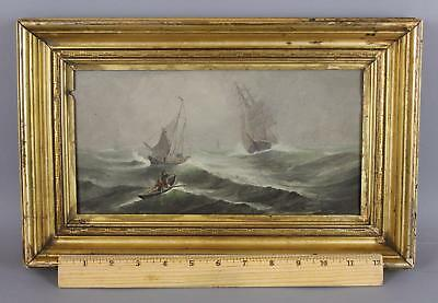 Small Antique 19thC Maritime Nautical Oil Painting, New England Fishermen