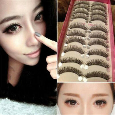 10 Pairs Women Natural Eye Lashes Makeup Handmade Thin Fake False Eyelashes S