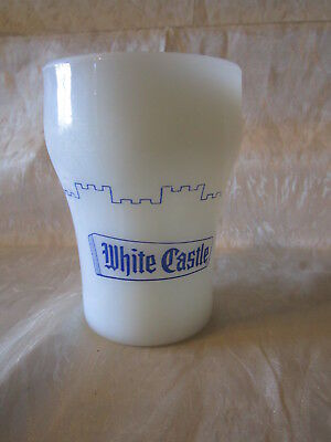 White Castle FireKing Milk Glass Advertising Mug Vtg Fire King Anchor Hocking