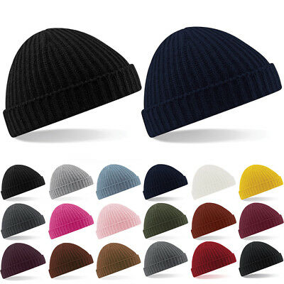 Fisherman Beanie Knitted Ribbed Hat Retro Vintage Mens Womens Cap Colorful New