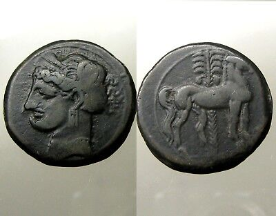 CARTHAGE ZEUGITANA BRONZE AE26____Horse/Tanit/Palm_____QUEEN DIDO / PUNIC WARS