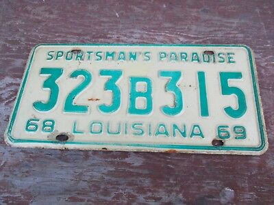 1968 69 Louisiana Sportsman's Paradise License Plate Number 323B315