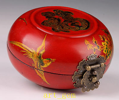 Oriental Vintage Leather Longfeng Circular Unique Chinese Jewelry Box Old Hand
