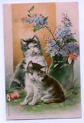 Turn of the Century Pair of Cats with Spool of thread Postcard