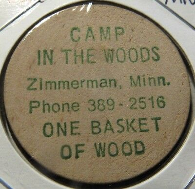 Vintage Camp in the Woods Zimmerman, MN Wooden Nickel - Token Minnesota