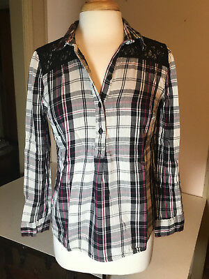 049592d9 Cato Womens Plaid half button up long sleeve shirt size Small lace shoulder