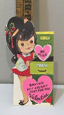 Vintage Valentine Card 60s Dark Hair Girl Office Secretary File Cabinet Unused