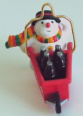 COCA-COLA SNOWMAN Christmas Delivery Bottles Miniature COKE ORNAMENT Enesco 1992