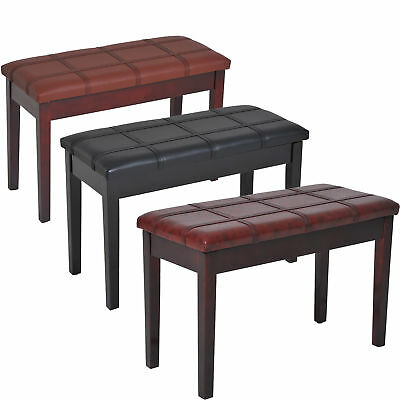 Two Person Lift Top Piano Storage Bench Faux Leather Keyboard Stool Birchwood