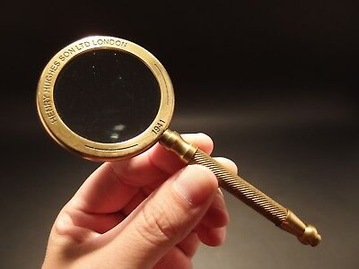 "Antique Vintage Style, Brass Magnifying Glass ""London 1941"""