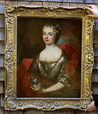 Large 18thC French Portrait Oil Painting, Aristocrat Woman w/ Whippet Dog, NR