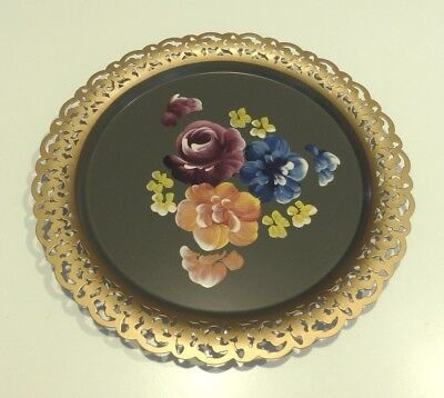 """Hand Painted 12"""" Round Metal Tole Tray Platter w Gold Rim NASHCO PRODUCTS OF NY"""