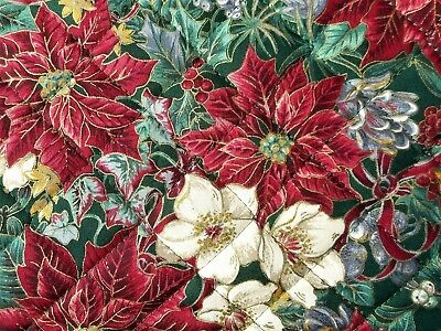 STUNNING! Handmade Hand Quilted Cotton Christmas Poinsettia Floral TABLE RUNNER