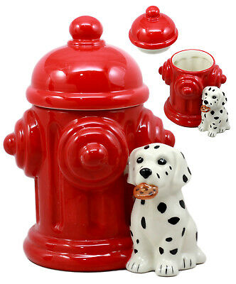 Ceramic Firehouse Dalmatian Puppy With Fire Hydrant Cookie Jar Kitchen Figurine