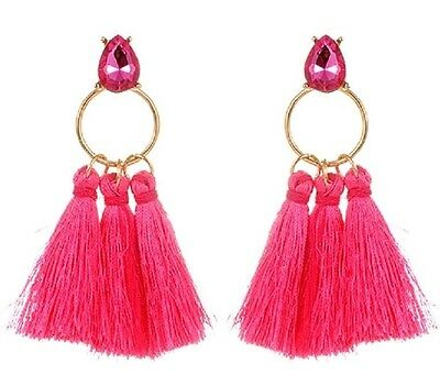 Hot Pink Bohemian Style Dangle Glass Stud Earrings with Polyester Tassels #321