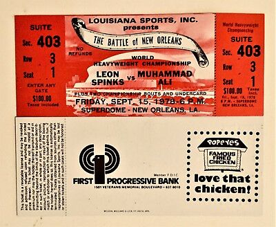 Extremely Rare, Unused Ticket from Ali v. Spinks 1978 Battle of New Orleans