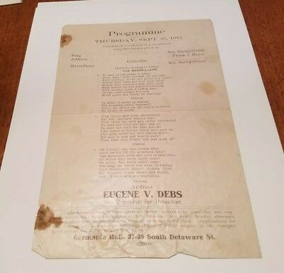 1912 Eugene Debs for President Speech Program Indianapolis Socialist Saengerbund