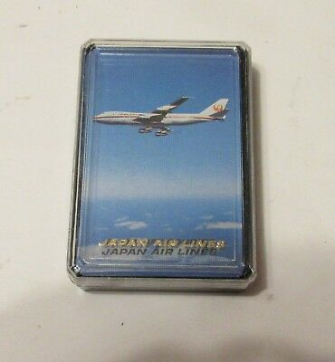 Vintage Japan Air Lines Playing Cards Sealed In Case B-747 Jet Courier