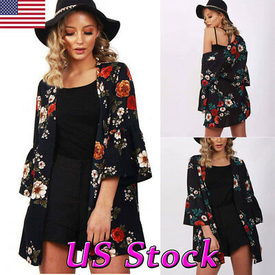 New Women's Long Sleeve Floral Kimono Cardigan Coat Tops Casual Jacket Blouse US