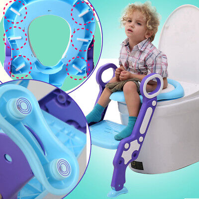 Children Seat&Ladder Toddler Training Step Up Easy Fold Down Blue&Purple For Kid
