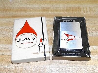 Vintage Antique Zippo Lighter Adv. Millard Heating Air Burlington Iowa  Mib