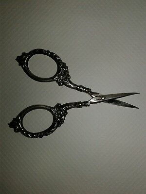 Antique Vintage Sterling Silver Repousse Ornate Flowers Scissors RARE