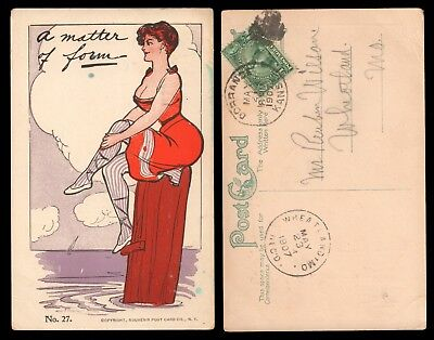 1907 Postcard - Suggestive Woman Sitting on a Masculine Post - A Matter of Form