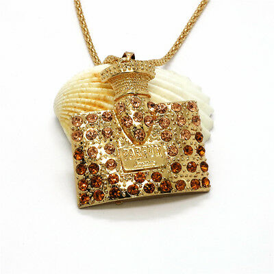 Hot Fashion Gold Plated Champagne Perfume Bottle Inlay Crystal Sweater Necklace