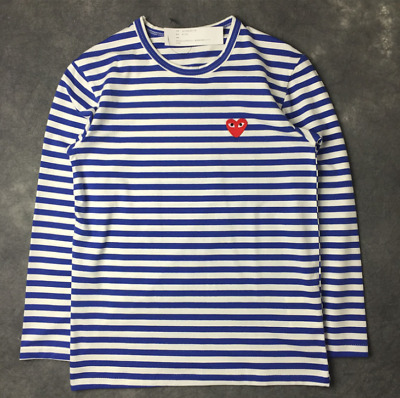 Men's Striped Women Comme Des Garcons Cdg Play Red Heart Long Sleeve T-Shirt Tee