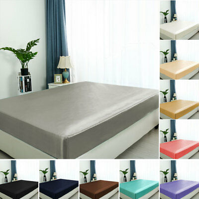 """Satin Silk Fitted Sheet with 12"""" Deep Pocket Smooth and Shiny Bed Sheet"""