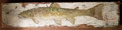 Primitive Brown Trout On Old White Wood.  Cheryl Korb