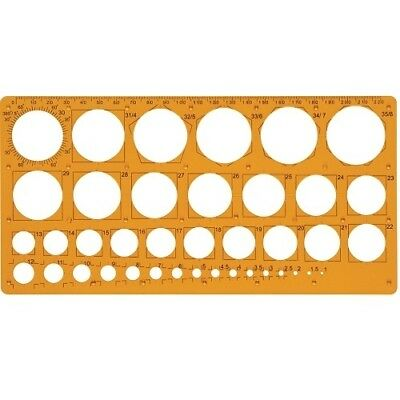 Maped Kreisschablone, 1-35 mm, 39 Kreise, orange, Lochschablone, Radienschablone