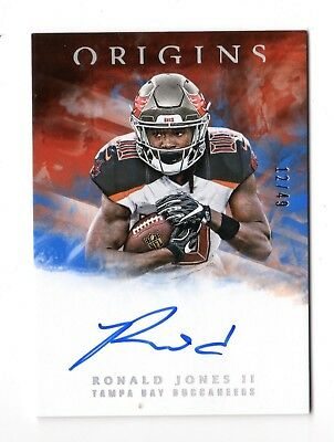 Ronald Jones Ii Nfl 2018 Panini Origins Rookie Signatures Blue #/49 (Buccaneers)