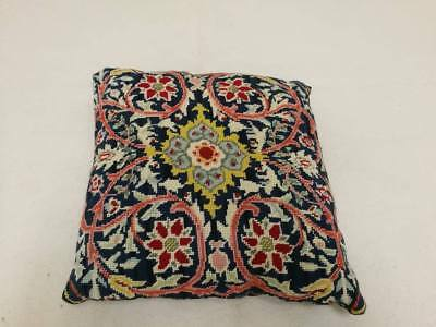 "Beautiful Small Vintage Tapestry Cushion. 12"" square. Lovely Block Print Back."