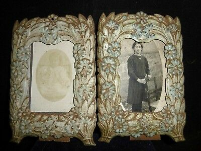 Rare pair of antique French toleware photo frames 1 of 2 c1890 wall or freestand