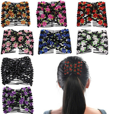 Women Ladies Magic Beads Elasticity Double Hair Comb Clamp Stretchy Accessory US