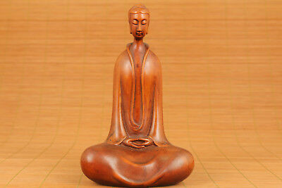 Big Japan Old Boxwood Hand-Carved Buddha Kwan-yin Statue Collectable
