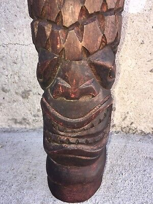 Hawaiian TIKI Polynesian SLIT DRUM Carved Wood Gong Percussion Tribal Instrument