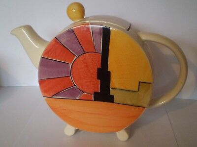Stunning V&a Hand Painted, Art Deco Teapot, Clarice Cliff Inspired Design