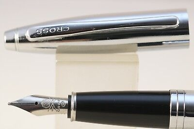 Cross Calais Lustrous Chrome Medium Fountain Pen, NOS, Black Ink