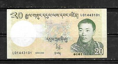 BHUTAN #30a 2006 VF CIRC 20 NGULTRUM  BANKNOTE PAPER MONEY CURRENCY BILL NOTE