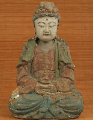 Ancient Big Chinese Old Wood Hand-Carved Buddha Guanyin Statue Collectable