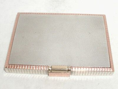 """Art-Deco Solid Silver & Applied Gold Powder Compact"" London 1937"