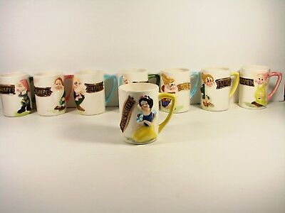 Walt Disney Productions Set Of Snow White And Dwarf Vintage Mugs,8 In All
