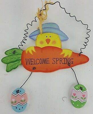 "Easter Chick On Carrot Welcome Spring Sign Door Wall Hanger 9"" Tall"