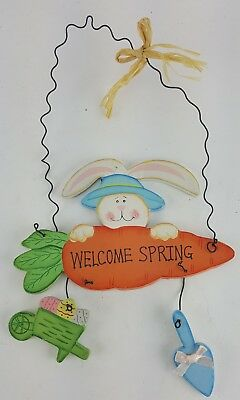 "Easter Rabbit On Carrot Welcome Spring Sign Door Wall Hanger 9"" Tall Blue Hat"