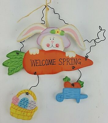 "Easter Rabbit On Carrot Welcome Spring Sign Door Wall Hanger 9"" Tall Purple Hat"