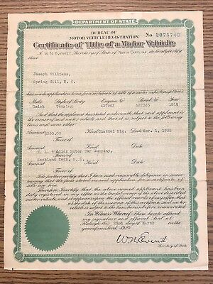 1919 Buick H Touring Certificate Of Title North Carolina Reg Historic Only