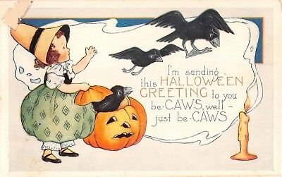c.1920 Girl Jack O'Lantern Crows Halloween post card as is Whitney