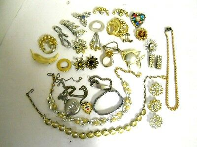 Vintage Mixed Lot of Costume Jewelry Brooches Earrings Bracelet Necklaces Lot A